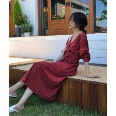 韓国 ファッション レディース ワンピース ロング チェック柄 Vネック カシュクール ゆったり 長袖 カジュアル 大人可愛い レトロ