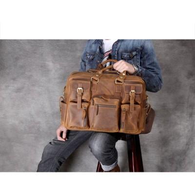 【職人純手作り】本物牛革★2wayメンズハンドバッグ ビジネスバッグ 復古本革オイルスキン ショルダーバッグ 多機能大容量 斜め掛けバッグ