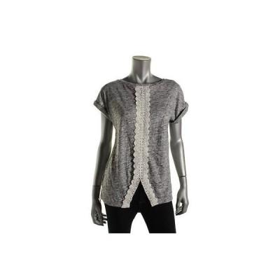 トップス ブラウス インク INC 6654 レディース グレー Crochet Trim Marled 半袖s Blouse Shirt XS
