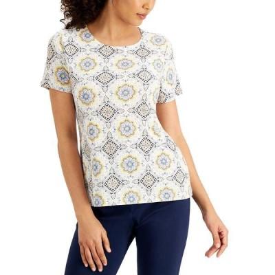 ジェイエムコレクション カットソー トップス レディース Printed Short-Sleeve Jacquard Top, Created for Macy's Bright White