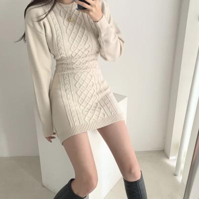 ファッションオシャレニットワンピース合わせやすい長袖レディースワンピース