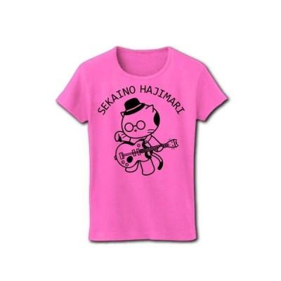 コピーバンドのギター担当 リブクルーネックTシャツ(ピンク)