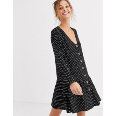 エイソス レディース ワンピース トップス ASOS DESIGN swing trapeze mini dress with pep hem in spot Black/white spot