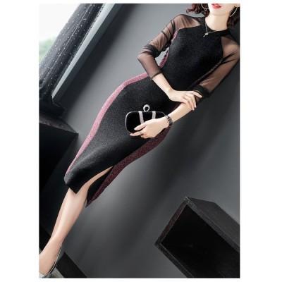 エレガント ラメ ニット ドレス ワンピース お呼ばれ 2色