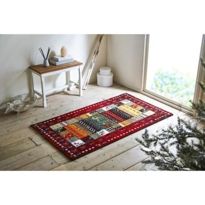 イケヒコ・コーポレーション ラグ マット トルコ製 ウィルトン織り ギャッペ調マット 約80×140cm レッド 抗菌防臭 消臭機能 へたりにくい #