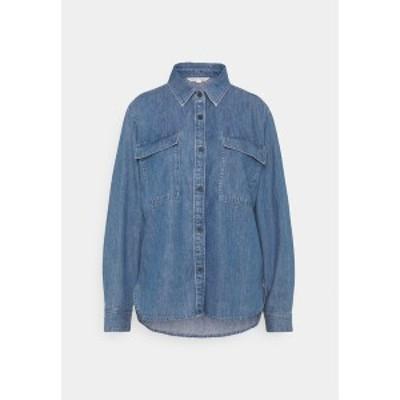 トムテイラーデニム レディース シャツ トップス CHEST POCKET - Button-down blouse - clean mid stone blue denim clean mid stone blu