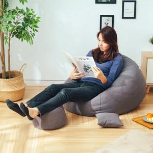 樂嫚妮 水滴懶骨頭沙發椅可拆洗-附腳凳-抱枕-灰色灰