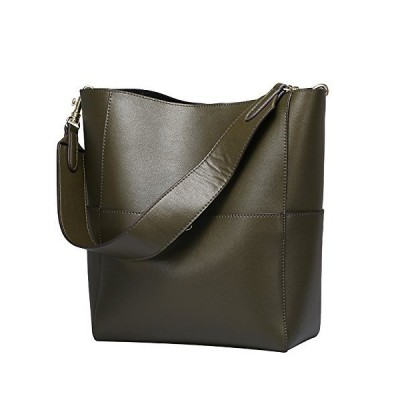 UTOP Women's Top Handle Handbags Tote Purse Shoulder Genuine Leather Designer bags Big Capacity Bucket Bags for Women (Light Green) 並行輸入品