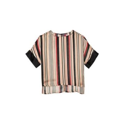 ヴィンスカムート レディース 服  Short Sleeve Drop Shoulder Stripe Interiors Blouse