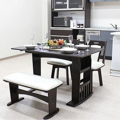 伸長式 ダイニング テーブル チェアー 幅90〜120cm 4点セット マスカット ブラウン 伸長テーブル バタフライタイプ ベンチ 食卓テーブル セット 木
