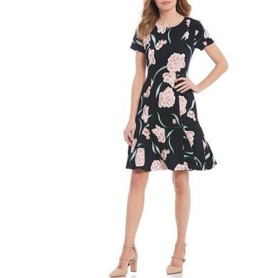 ジェシカハワード レディース ワンピース トップス Petite Size Floral A-Line Short Sleeve Dress