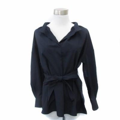 【中古】ナチュラルビューティーベーシック シャツ ブラウス 長袖 オープンカラー ベルト付 S 紺 ネイビー レディース