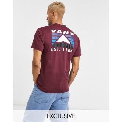 ヴァンズ Vans メンズ Tシャツ トップス Mountain back print t-shirt in burgundy パープル