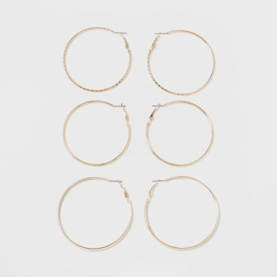 ワイルドファブル Wild Fable レディース イヤリング・ピアス フープピアス ジュエリー・アクセサリー Thick, Thin and Textured Hoop Earring Set 3ct - Gold