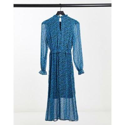 ニュールック レディース ワンピース トップス New Look midi dress in blue floral print Blues