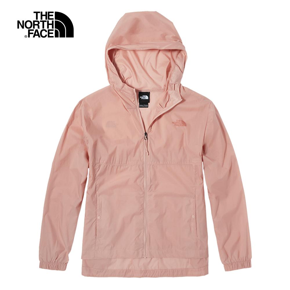 The North Face北面女款粉色防潑水連帽防風外套|4U96UBF