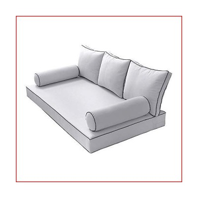 Prolinemax Style3 Queen Size 6PC Contrast Pipe Outdoor Daybed Matress Cushion Bolster Pillow Complete Set AD105【並行輸入品】