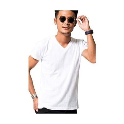 (ビッチ)VICCI メンズ 半袖 Tシャツ Vネック シアサッカー カットソー ストレッチ 立体感 VIJP18-05 46(L) WHT