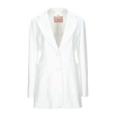ツインセット シモーナ バルビエリ TWINSET テーラードジャケット ホワイト 40 レーヨン 68% / ナイロン 27% / ポリウレタン