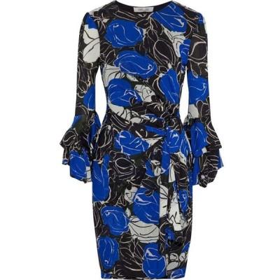 ダイアン フォン ファステンバーグ DIANE VON FURSTENBERG レディース ワンピース ミニ丈 faridah wrap-effect printed stretch-mesh mini dress Royal blue