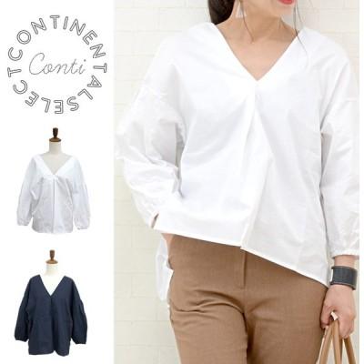 ボリューム袖両Vネックシャツ レディース ワイドシルエット コットン バックロング ふんわり ブラウス プルオーバーシャツ ホワイト ネイビー メール便可