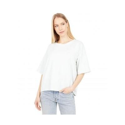 Mod-o-doc モッドオードック レディース 女性用 ファッション Tシャツ Spandex Blend Jersey 1/2 Sleeve Oversized Boxy Tee - Blue Calcite