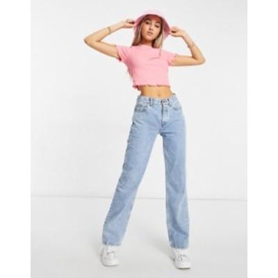 エイソス レディース デニムパンツ ボトムス ASOS DESIGN mid rise 90s straight leg jeans in vintage light wash Lightwash