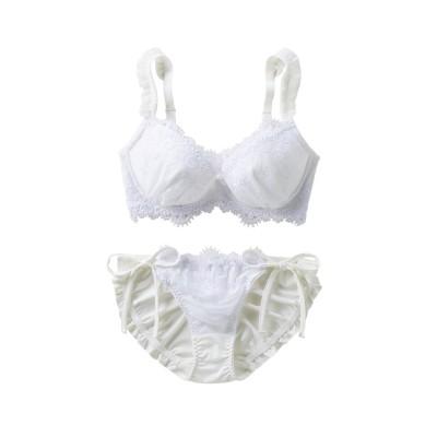 ホワイト系ブラ。ショーツセット (ブラジャー&ショーツセット)Bras & Panties