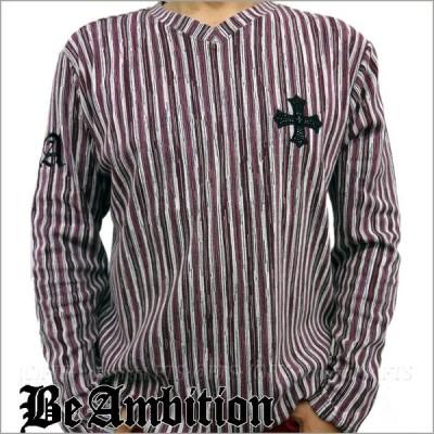 Be Ambition ロングTシャツ メンズ マルチストライプ 十字柄ラインストーン Vネック長袖Tシャツ ワインカラー おしゃれ カッコいい ブランド