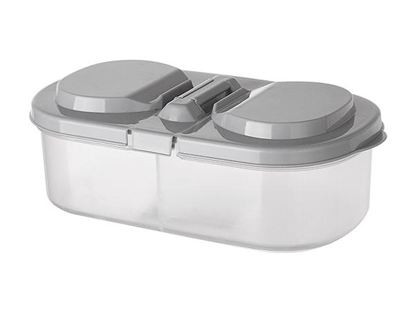 雙格有蓋冰箱儲物盒/分格收納盒(1入)【D020172】顏色隨機出貨