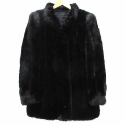 【中古】black jewel ブラック ミンク 毛皮 コート ショート ジャケット M~Lサイズ 茶 ダークブラウン レディース