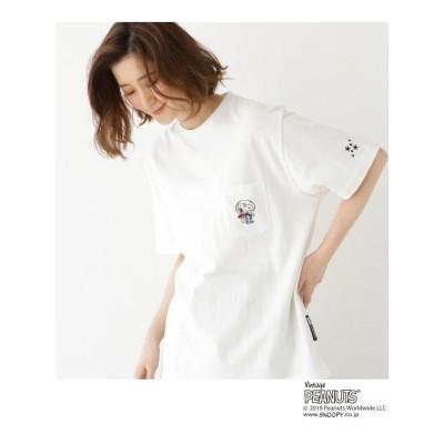【WEB限定】 ピーナッツ 別注  ASTRO スヌーピー ポケット刺繍 Tシャツ
