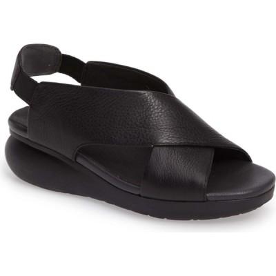 カンペール CAMPER レディース サンダル・ミュール ウェッジソール シューズ・靴 Balloon Slingback Wedge Sandal Black Leather