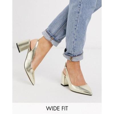 エイソス レディース ヒール シューズ ASOS DESIGN Wide Fit Sammy slingback mid heels in gold Gold