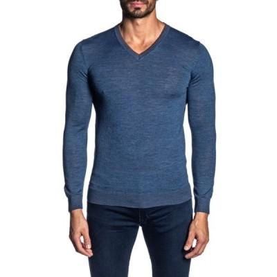 ヤレドラング メンズ ニット&セーター アウター V-Neck Knit Pullover Sweater BLUE