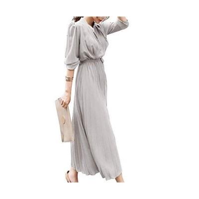 [ニーマンバイ]プリーツ ワンピ 無地 ロング丈 ワンピース ロング ミディアム 襟付き ひざ丈 前開き 着やせ オトナ カワイイ 可愛い かわいい