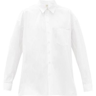 ザニーニ Zanini レディース ブラウス・シャツ トップス Gathered-sleeve cotton-poplin shirt White