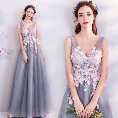 パーティードレス カラードレス 二次会 aラインドレス 結婚式 灰色 安い フォーマル 披露宴  コンサート 演奏会 イブニングドレス