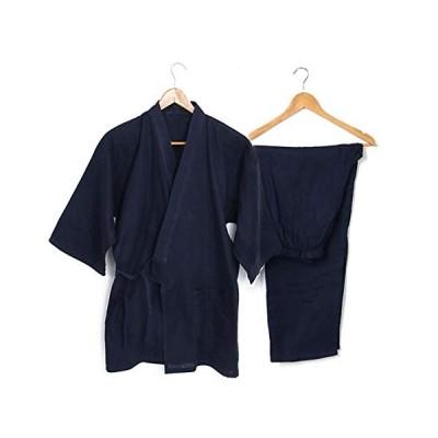 メンズ 作務衣 上下セット 軽量 薄手 綿100% 無地 さむえ 男性用 甚平 着物風 パジャマ 部屋着 ポケット付き 父の日 贈り物 (紺色