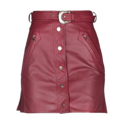 ジャストカヴァリ JUST CAVALLI ひざ丈スカート ボルドー 38 羊類革 100% ひざ丈スカート