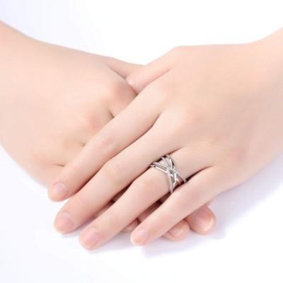 VIKI LYNN Criss Cross Rings for Women 925 Sterling Silver Wide Band Ri