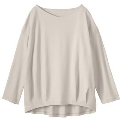 部屋干し対応今どきTシャツ8分袖(綿100%)/ライトグレージュ/L