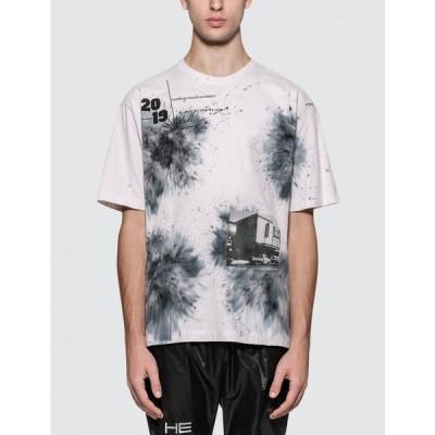 GEO メンズ Tシャツ トップス Late Sunset Typography S/S T-Shirt White/Blue