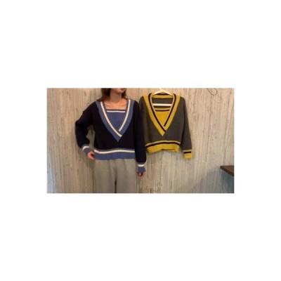 【送料無料】セーターの女性 年 秋冬 韓国風 デザイン 感 偽 カラーステッチを打ち   346770_A63834-1135970
