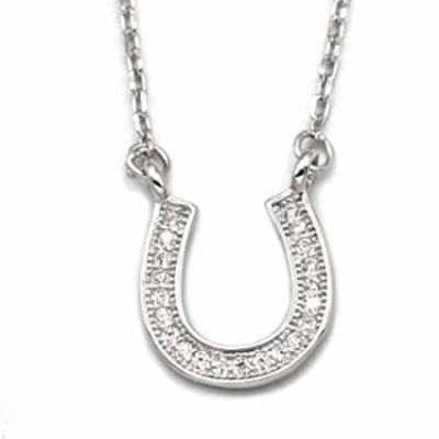"Petite Horseshoe Pendant Necklace .925 Sterling Silver Cubic Zirconia Adjustable 15"" - 17"" Chain"