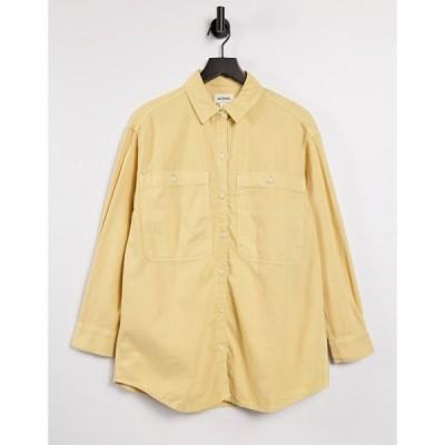 モンキ Monki レディース ブラウス・シャツ トップス Allison organic cotton oversized shirt in natural yellow dye イエロー