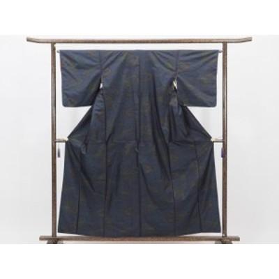 【中古】リサイクル紬 / 正絹黒地紺絣横双柄袷大島紬アンサンブル (古着 中古 紬 リサイクル品)