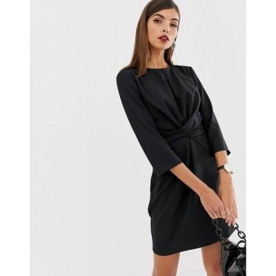 エイソス レディース ワンピース トップス ASOS DESIGN tie wrap around mini dress Black