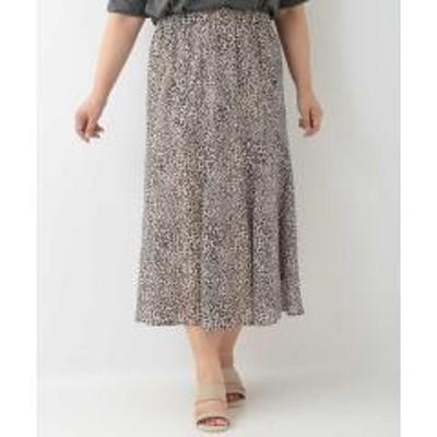 eur3(エウルキューブ)【洗える/大きいサイズ】レオパード柄ミモレ丈スカート【お取り寄せ商品】