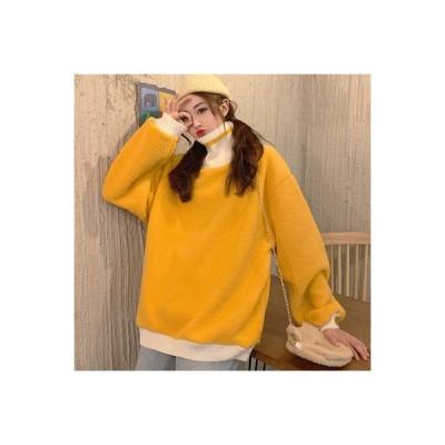 【送料無料】韓国風 シンプル 風 ハイネック ヘッジセーター 女 秋と冬 厚さプラス 学生 シェルパ | 346770_A64412-3935977
